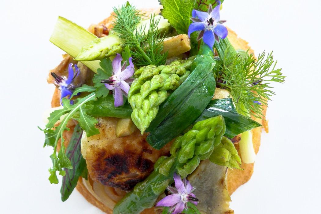 Lotte sablé parmesan, jeunes légumes printaniers
