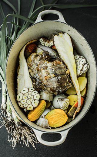 Jarret de veau confit légumes racines