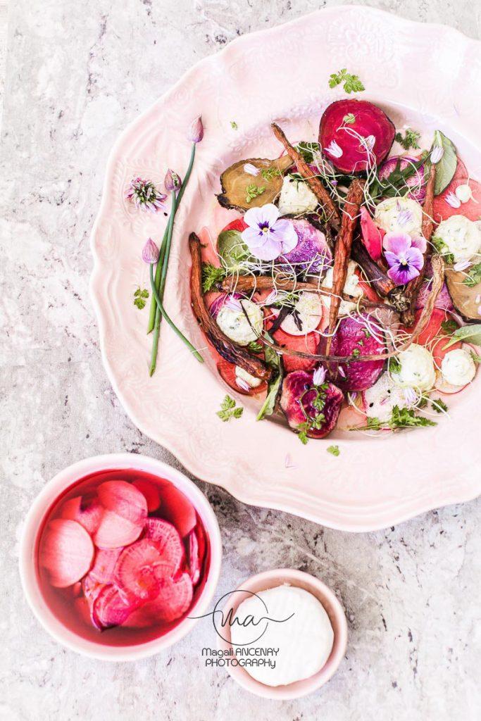 légumes racines, pickles et chèvre - Magali ANCENAY Photographe Culinaire