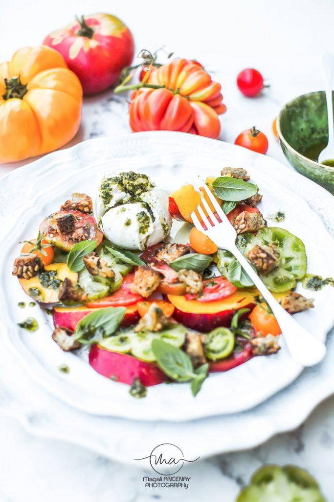 salade brugnons et tomates anciennes - Magali ANCENAY Photographe Culinaire