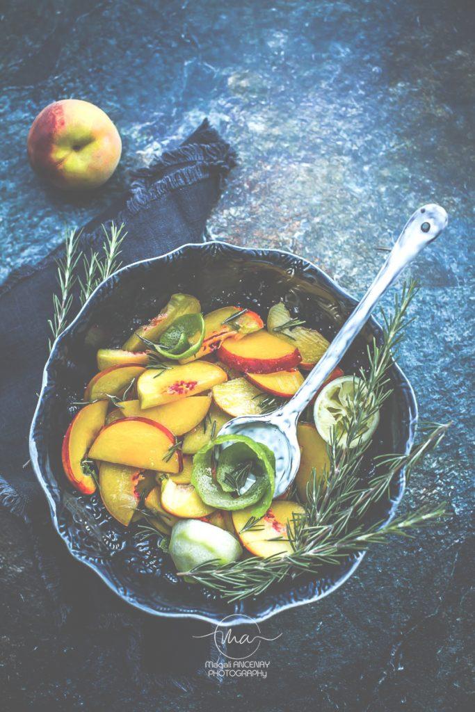 Tarte aux pêches romain et citron vert - Magali ANCENAY Photographe Culinaire